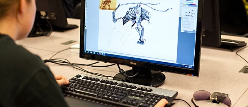 You are looking over the shoulder of a digital animator, viewing their partially completed illustration on a computer screen